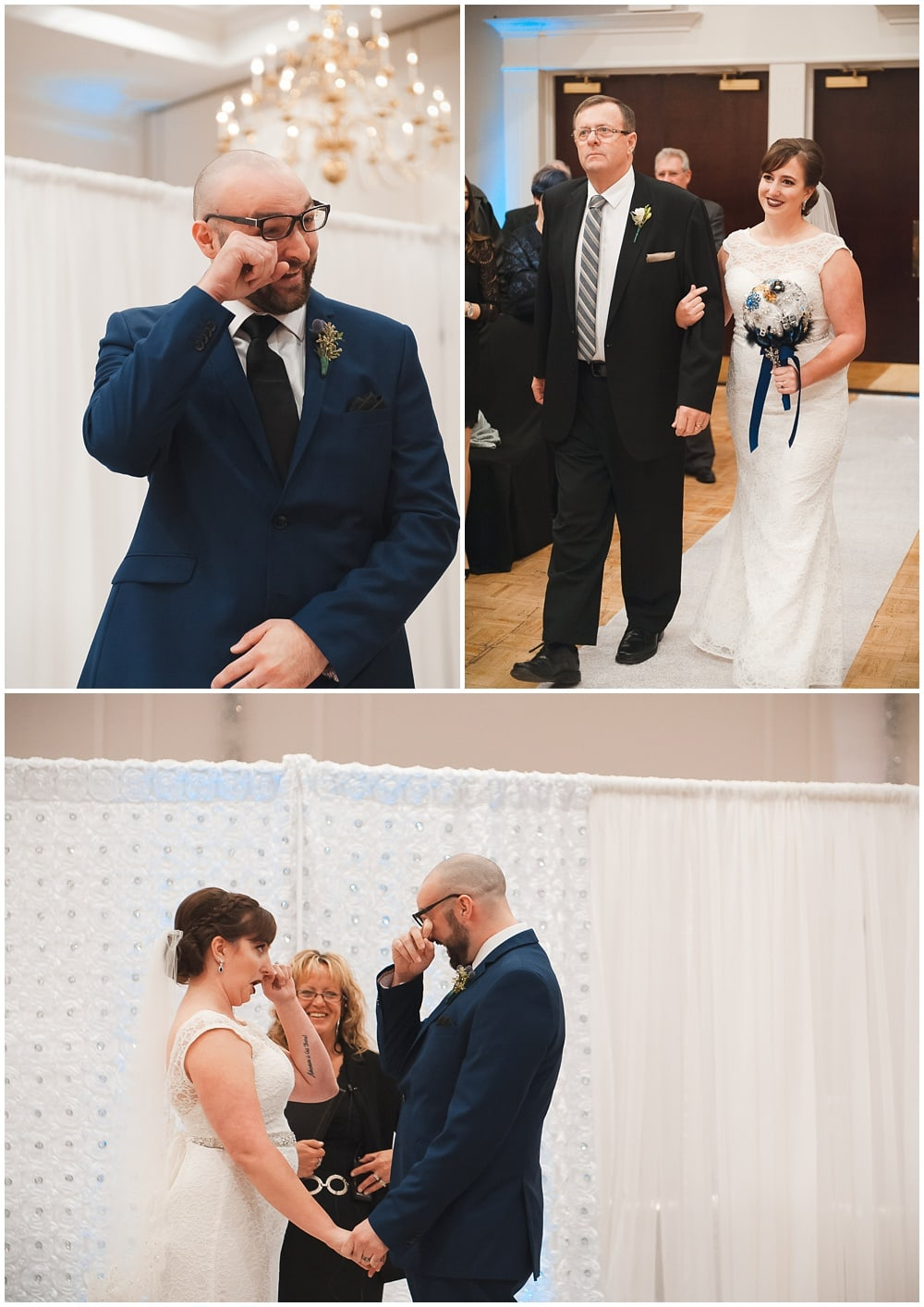 bride and groom's crying during carmen's banquet hall ceremony hamilton