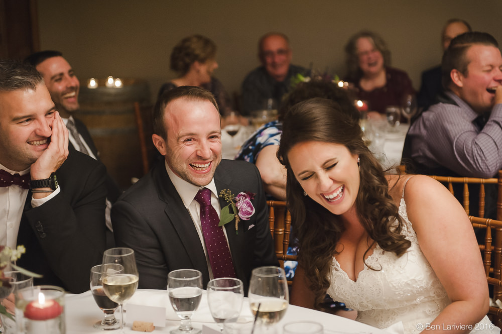 couple laughing during wedding speeches at inn on the twenty jordan station ontario