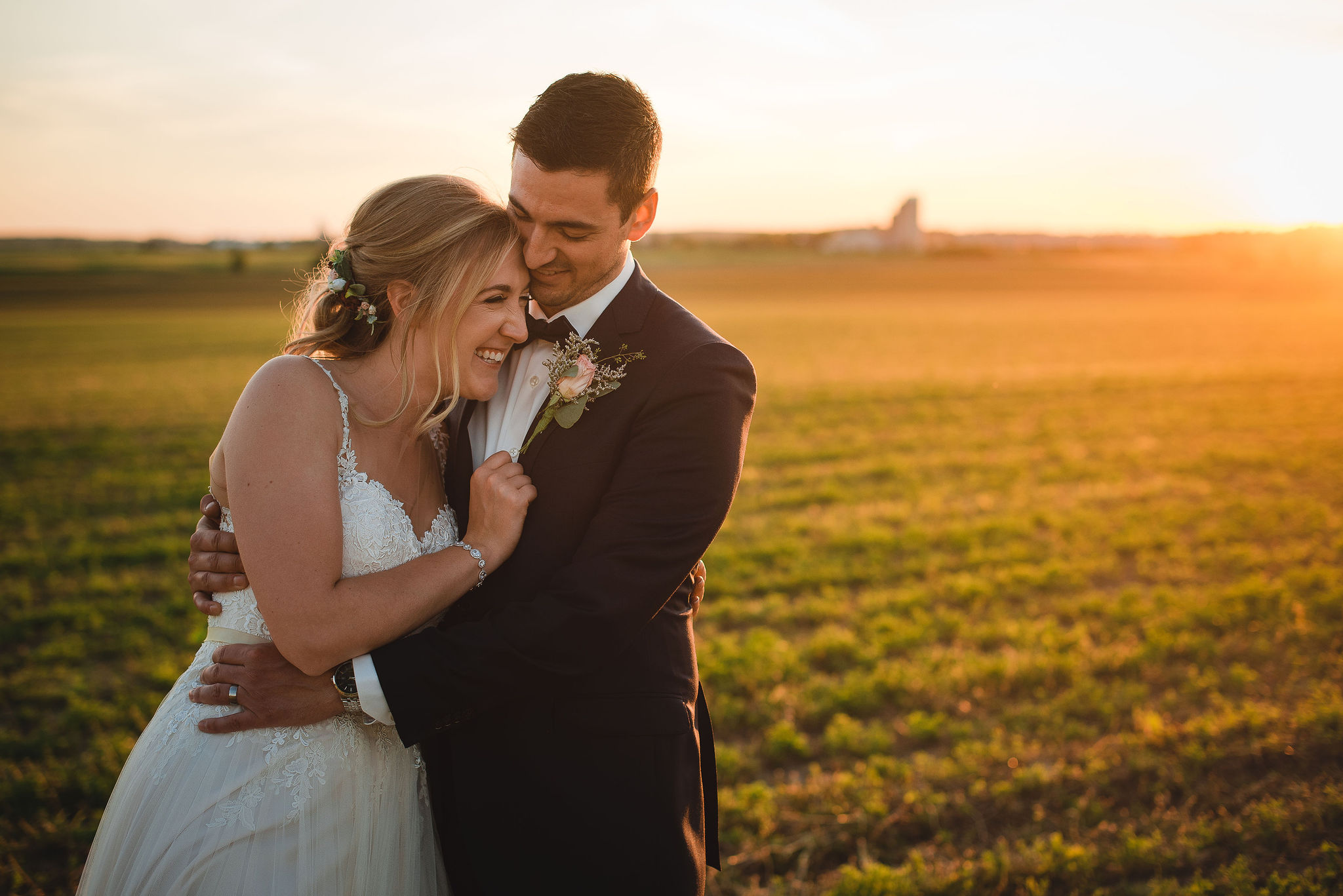 country field bride and groom portrait during golden hour